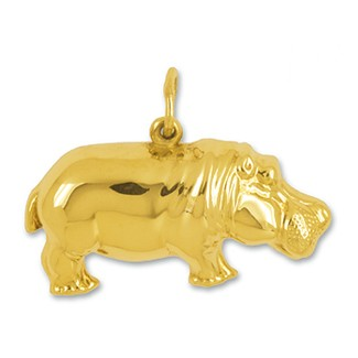 Anhänger Flusspferd in Gold, Charm N1017, Schlüsselanhänger oder Kettenanhänger