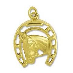 Anhänger Pferdekopf mit Hufeisen in echt Gelbgold, Ketten- oder Schlüssel-Anhänger