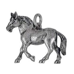 Anhänger Pferd in echt Sterling-Silber 925 oder Gold, Ketten- oder Schlüssel-Anhänger