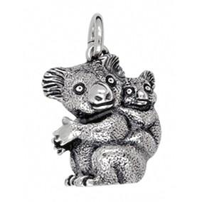 Anhänger Koalabären Mutter mit Kind in echt Silber oder Gold, Schlüsselanhänger oder Kettenanhänger