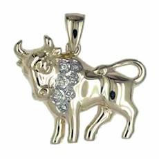 Anhänger Stier, Tierkreiszeichen in echt Gelbgold mit Diamanten, Ketten- oder Schlüssel-Anhänger