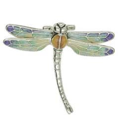 Zierfigur Libelle in echt Sterling-Silber bunt emailliert - Standmodell klein