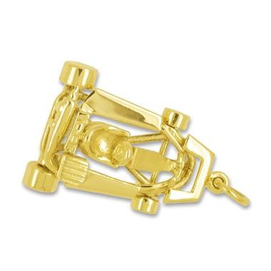 Anhänger Go-Kart in echt Sterling-Silber 925 und Gelbgold, Ketten- oder Schlüssel-Anhänger