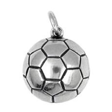 Anhänger Fußball in echt Sterling-Silber 925 und Gold, Ketten- oder Schlüssel-Anhänger