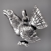 Anhänger Auerhahn in echt Sterling-Silber oder Gold, Ketten- oder Schlüssel-Anhänger