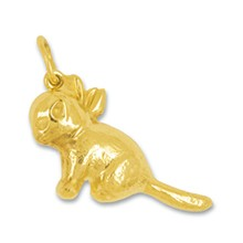 Anhänger Katze in echt Gelbgold, Charm, Ketten- oder Bettelarmband-Anhänger