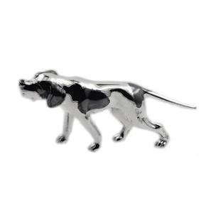 Zierfigur Jagdhund in echt Sterling-Silber 925 teilgeschwärzt, oxydiert, Standmodell