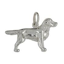 Anhänger Golden Retriever, Hund in echt Sterling-Silber 925 oder Gold, Ketten- oder Schlüssel-Anhänger