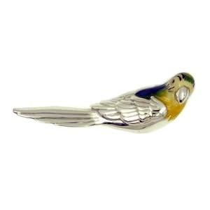 Zierfigur Papagei in echt Sterling-Silber 925 emailliert, Standmodell