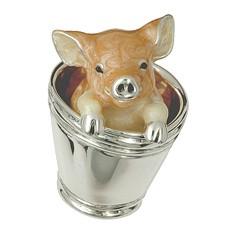 Zierfigur Schweinchen im Eimer in echt Sterling-Silber 925 emailliert, Standmodell