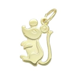 Anhänger Maus in echt Gelbgold 333, Charm, Ketten- oder Bettelarmband-Anhänger