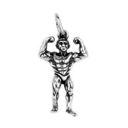 Anhänger Bodybuilding, Bodybuilder in echt Sterling-Silber 925 oder Gold, Charm, Ketten- oder Bettelarmband-Anhänger