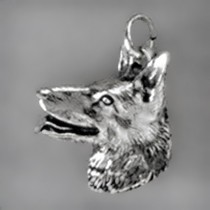 Anhänger Schäferhundkopf in echt Sterling-Silber 925 oder Gold, Ketten- oder Schlüssel-Anhänger