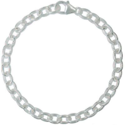 Armband / Ankerkette rund j282 mit Schmuck-Karabiner-Verschluss und beweglicher Öse in Silber 925/000 für Anhänger oder Charms