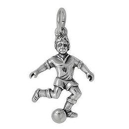 Anhänger Fussballspieler in echt Sterling-Silber 925 oder Gold, Charm, Ketten- oder Bettelarmband-Anhänger