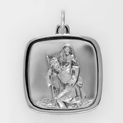 Anhänger Christophorus Plakette in echt Sterling-Silber 925 oder Gold, Ketten- oder Schlüssel-Anhänger