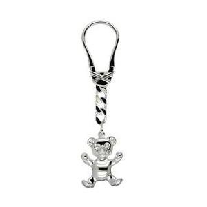 Schlüsselanhänger Teddybär in echt Silber 925 inklusive Schlüsselring, Klemmverschluss und Kette