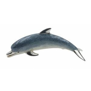 Zierfigur Delfin, Delphin in echt Sterling-Silber 925 emailliert, Standmodell