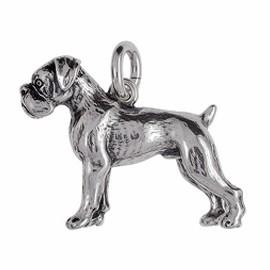Anhänger Boxer, Hund in echt Sterling-Silber 925 oder Gold, Ketten- oder Schlüssel-Anhänger