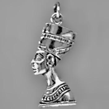 Anhänger Büste der Nofretete in echt Sterling-Silber 925 oder Gold, Charm, Ketten- oder Bettelarmband-Anhänger
