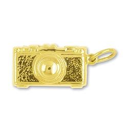 Anhänger Fotoapparat in echt Gold, Charm, Ketten- oder Bettelarmband-Anhänger