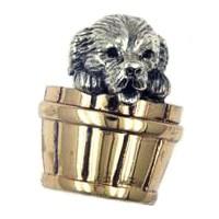 Zierfigur Hund im Kübel in echt Sterling-Silber 925 teilgeschwärzt, Standmodell
