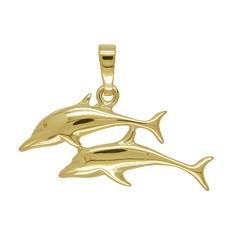 Anhänger Delfinpaar, Delphinpaar in echt Sterling-Silber oder Gelbgold, Charm, Kettenanhänger oder Bettelarmband-Anhänger