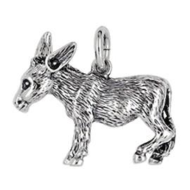 Anhänger Esel in echt Sterling-Silber oder Gelbgold, Kettenanhänger oder Schlüssel-Anhänger