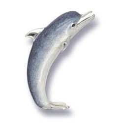 Zierfigur Delphin in echt Sterling-Silber 925 emailliert, Standmodell