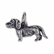Anhänger Rauhaardackel, Hund in echt Sterling-Silber 925 oder Gold, Charm, Ketten- oder Bettelarmband-Anhänger