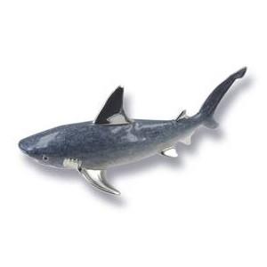 Zierfigur Hai in echt Sterling-Silber 925 emailliert, Standmodell