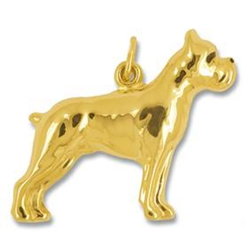 Anhänger Boxer, Hund in echt Gelbgold poliert, Ketten- oder Schlüssel-Anhänger
