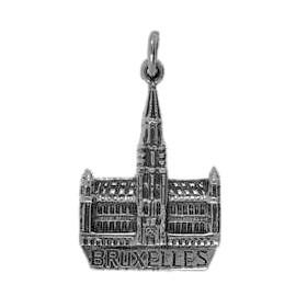 Anhänger Brüssel, Rathaus in echt Sterling-Silber 925 oder Gold, Ketten- oder Schlüssel-Anhänger