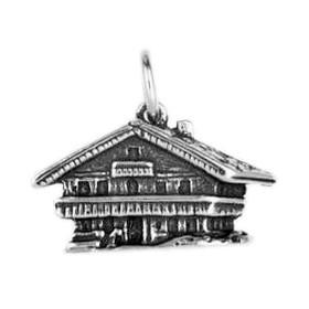 Anhänger Schweizer Bauernhaus in echt Sterling-Silber 925 oder Gold, Charm, Ketten- oder Bettelarmband-Anhänger