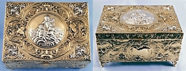 "Silberdose vergoldet, silberne Dose in echt Silber 800 teilvergoldet, Motiv ""Putten"", Nr. 1-4006"