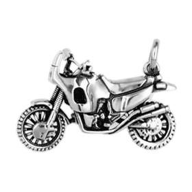 Anhänger Enduro Motorrad in echt Sterling-Silber 925 und Gold, Ketten- oder Schlüssel-Anhänger