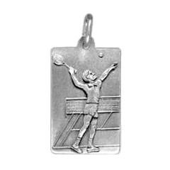 Anhänger Tennisspieler, Plättchen in echt Sterling-Silber 925 und Gold, Ketten- oder Schlüssel-Anhänger