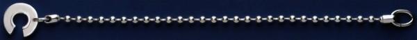 Durchziehkette, Schlüsselkette, Kugelkette mit Kugelverschluss & Einhängeöse, Schlüsselmechanik in Sterling-Silber 925 für Anhänger