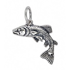 Anhänger Fisch - Forelle in echt Sterling-Silber oder Gold, Charm, Kettenanhänger oder Bettelarmband-Anhänger