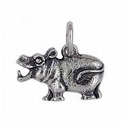 Anhänger Nilpferd, Flusspferd, Hippopotamus in echt Sterling-Silber 925, Charm, Kettenanhänger oder Bettelarmband-Anhänger
