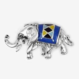 Zierfigur Elefant mit Decke in echt Sterling-Silber emailliert, Standmodell