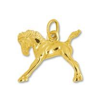 Anhänger Pferd, Fohlen in echt Gelbgold, Charm, Ketten- oder Bettelarmband-Anhänger