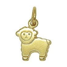 Anhänger Schaf, Lamm in echt Gelbgold, Charm, Ketten- oder Bettelarmband-Anhänger
