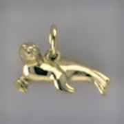 Anhänger Seehund, Robbe in echt Sterling-Silber 925 oder Gold, Charm, Ketten- oder Bettelarmband-Anhänger