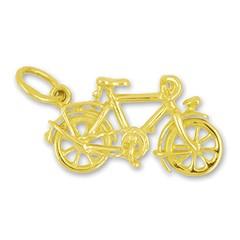 Anhänger Fahrrad in echt Sterling-Silber 925 oder Gelbgold, Charm, Ketten- oder Bettelarmband-Anhänger