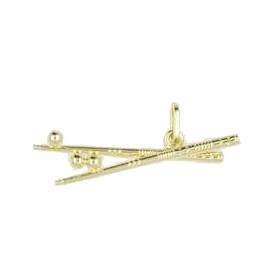 Anhänger Billardqueues mit Kugeln in echt Sterling-Silber 925 oder Gold, Charm, Ketten- oder Bettelarmband-Anhänger