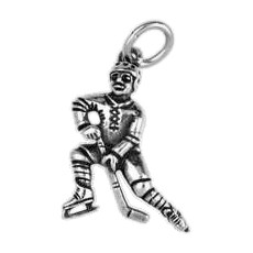 Anhänger Eishockeyspieler in echt Sterling-Silber 925 oder Gold, Charm, Ketten- oder Bettelarmband-Anhänger