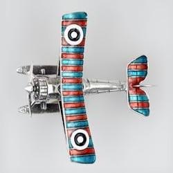 Zierfigur Flugzeug Doppeldecker in echt Sterling-Silber 925 emailliert, Standmodell