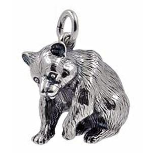 Anhänger Bär sitzend  in Silber oder Gold, Charm T164, Schlüsselanhänger oder Kettenanhänger