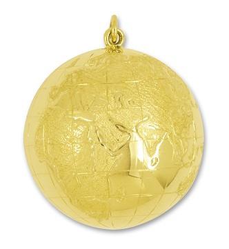 Anhänger Boule, Pétanque, Weltkugel, Globus in echt Gelbgold, Ketten- oder Schlüssel-Anhänger